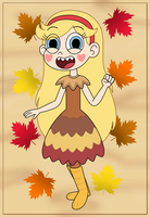 Star Butterfly wears thankful turkey dress by Deaf-Machbot