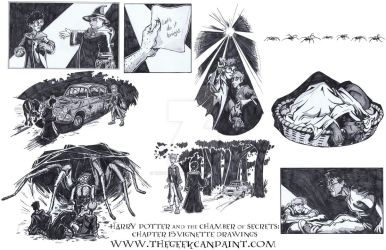 Harry Potter: Book 2 Chapter 15 Vignette Drawings by TheGeekCanPaint