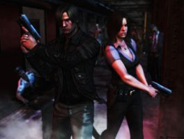 Resident evil wallpaper Leon and Helena by ethaclane