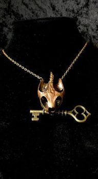 Copper and Gold Turtle Skull Pendant by TheSilverCaribou