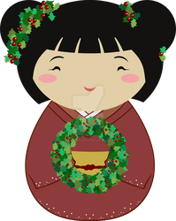 Kokeshi Christmas Wreath by thedustyphoenix
