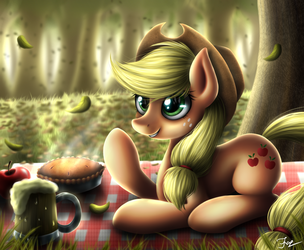 Apple picnic by HoodieFoxy