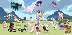 Summer Pouflon Group Collaboration! (finished) by tyronniesaur