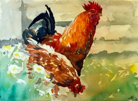 Watercolour Chickens by capwak