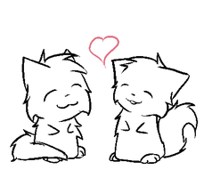 Kitty couple lineart by SkyProductions