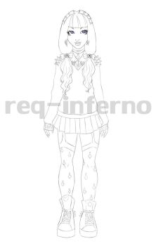 Lineart Pastel Goth Girl by REQ-Inferno