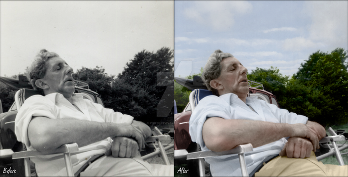 Sleeping Man - Photoshop Colour Restoration by PhotoRevival