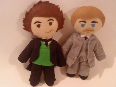 Holmes and Watson Plushies by cubosabio