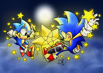 star studded sonics - colored by Bureizu-Neko