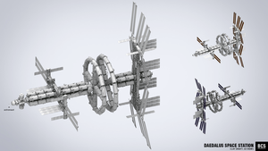 Daedalus Space Station [clay 3d] by blackcloudstudios