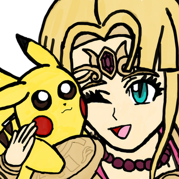 Pikachu and Zelda by WhiteRose1994
