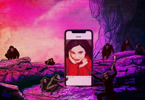 2001 Kylie Jenner and her apes of Instagram by HalHefnerART