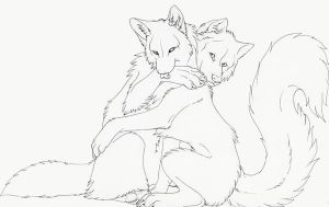 Nenna and wolfram-lineart by Lyanti