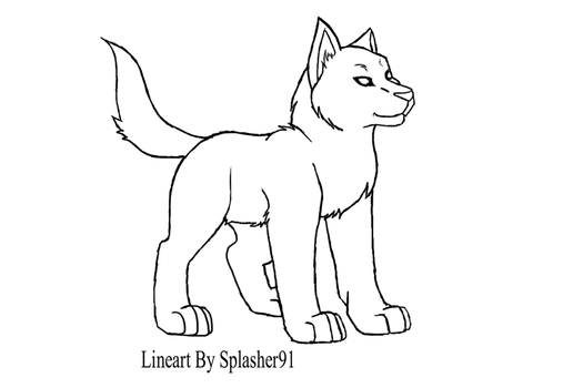 Wolf Pup LineArt by Splasher91