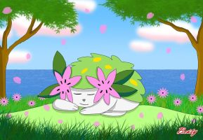 Sleeping Shaymin by Rose-Beuty
