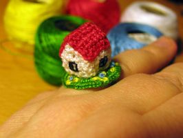 Crocheted ring with house by lovebiser