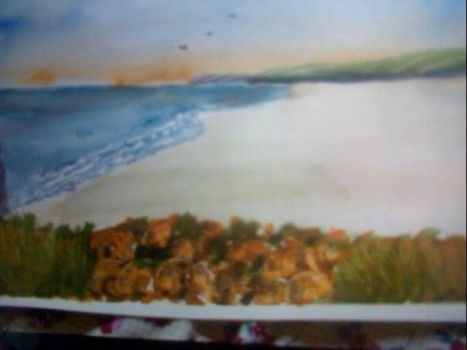 Seascape in watercolour by Heatherag