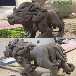 Foo dog sculpture WIP by JaguarPaws