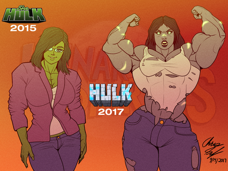 Jen Walters / She-Hulk - Then and Now by LunarDiaries