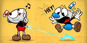 Cuphead and Mugman by Pink-Doodlr