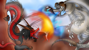 Dragon RoChu - Battle Fire VS Ice by Saya-Alphaling