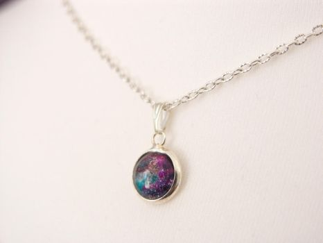 Necklace with hand painted glass pendant - galaxy by OkeMani