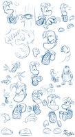 More Rayman Sketches by EarthGwee