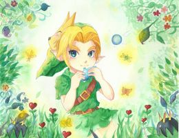 Young Link and his Ocarina. by ThatMangaGirl