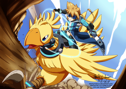 Commission: Gunvolt and Chocobo by innovator123