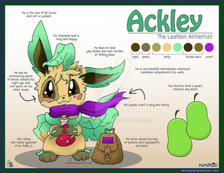 Ackley the Leafeon Reference Sheet by MeMiMouse