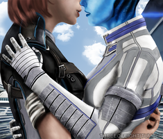 Liara and Femshep by twisted-illusion-666