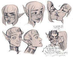 Fiana and Xenos Sketches by DrMistyTang