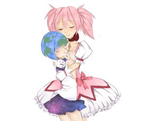Madoka and Earth-chan by ACorca