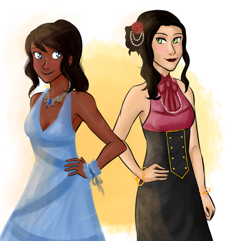 Korra and Asami by Tetra-Zelda