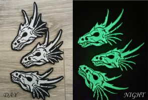 GLOW dragon skull ~ embroidered patches by CyanFox3