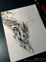 Cthulhu WIP Drawing by TentaclesandTeeth