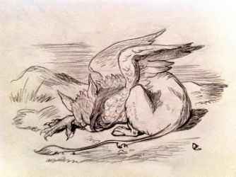 Sleeping griffin by PiperOfGameln
