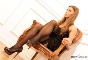 Stockings covered Shapely Legs of Sofia - LE by LegsEmporium