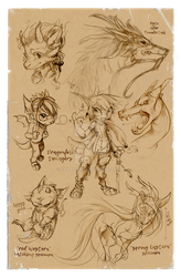 ARTBOOK PREVIEW : dragons sketches by Feralita