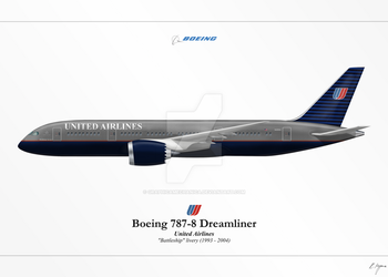 Boeing 787 - United Airlines 'Battleship' by graphicamechanica