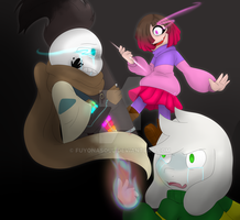 [GlitchTale] Ink and Asriel vs Betty [FanArt] by FuyonaSoul