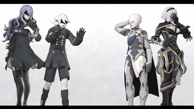 |SFM|Crossover|2B9S|Cor x Cam|The Smol and the Tol by UniversalKun