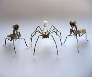 Mechanical Mantises and Spider by AMechanicalMind