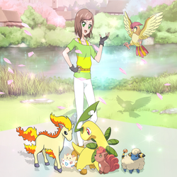 Miriam and her Pokemon -Commission- by Luckyshortyboo
