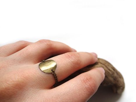 Brass Chain and Charm Ring by i-am-enrooted