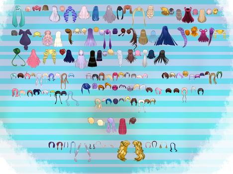 MMD hair pack 1 by MMD3DCGParts