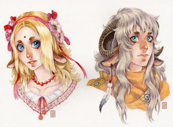 Watercolor headshots examples by Nuaran