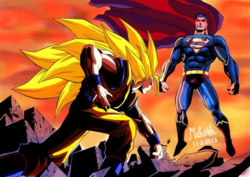 SSJ3 GOKU VS SUPERMAN by Mahesh by MaheshDa