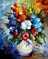 Dream Flowers by Leonid Afremov by Leonidafremov