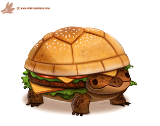 Daily Paint #1098. Turtle Burger by Cryptid-Creations